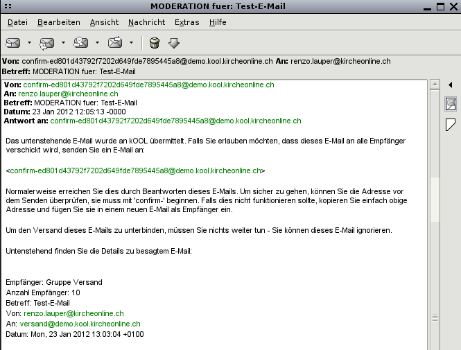 Bestätigungs E Mail